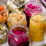 Jars of fermented vegetables containing probiotics