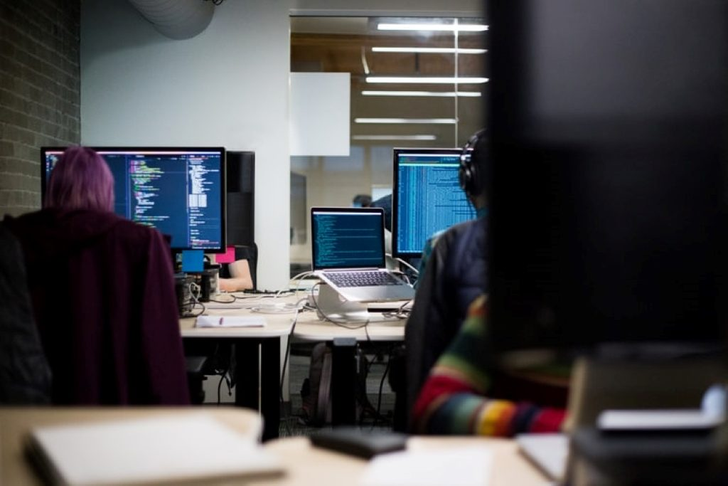 People working at computers