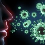 Illustration of a face breathing with bacteria and viruses floating in the air
